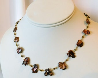 Brown Pearl Necklace - Copper Pearl Necklace - Keishi Pearl Necklace - Cognac Pearl Necklace - Pearl Necklace