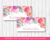 Pink Floral Buffet Cards ...