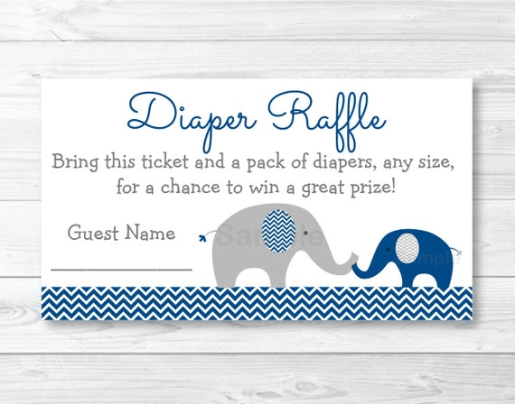 Cute Elephant Diaper Raffle Tickets / Chevron Elephant / Elephant Baby Shower / Chevron Pattern ...