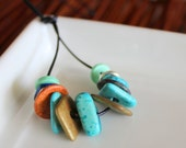 Rustic Blue, Bronze and Silver Ceramic Spacer Beads x 13