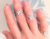 Blue Flower Midi or Pinky Ring  Set of Three