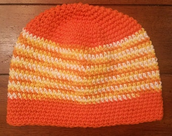 Orange Stripe Cotton Tight Stitch Beanie, Long Length - Limited Edition, Ready to Ship SALE!!