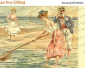 ON SALE Fishing for Attention, Seaside, Beach  gift tag - Italian Postcard - Instant Digital Download FrA107
