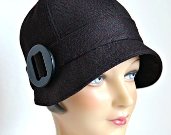 Cloche Hat in Black and Red Wool - Made to Order - 3 Weeks to Ship