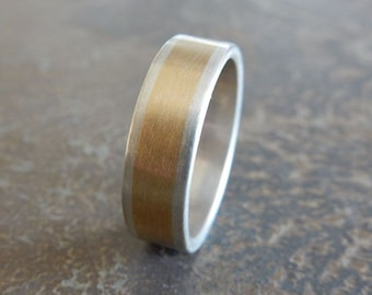 RUSTIC Silver & Brass (not 14k gold) 6.5 mm// Men's Wedding Ring // Women's Wedding Ring // Men's Wedding Band // Women's Wedding Band
