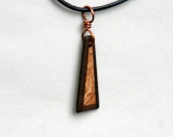 Handmade Black Walnut and Olive Wood Pendant J160607
