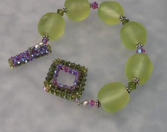 Olive Lime Nuggets Bracelet with Handmade 3D Swarovski Crystal Clasp SRAJD Team  Handmade Lampwork Beads SRA Sterling Silver