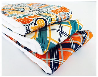 Set of (3) VERY ABSORBENT BURPIES...... Coordinating  fabric prints on 3ply cotton burp cloths......  Very handy for baby care