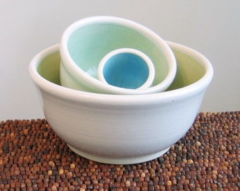 Ceramic Nesting Bowls - Wedding Gift - Small Stoneware Pottery Prep Bowl Set in Seaside