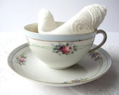 Antique Nippon Hand Painted Blue Pink Teacup & Saucer - Cottage Chic