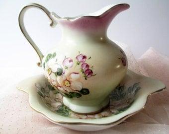 Vintage Basin and Pitcher Set Purple Green Floral  - Cottage Chic