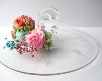 Vintage Floral Etched Handled Crystal Sandwich Server