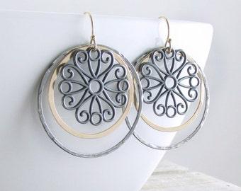Mixed Metal Circle Earrings Bohemian Chic Dangle Earrings Hoop Gold Oxidized Earrings Gift For Her Holiday Gift Gold Black Circle Earrings