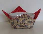 Microwave Fabric Bowl / Sock Monkies / Red Polka Dot / Food Warming Bowl / Ice Cream Bowl / Bridal Gift / Housewarming Gift