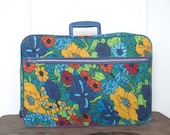 get away, 1960s Blue Flower Power fabric suitcase - vintage floral travel bag, luggage, carryon, weekender, overnighter ... or retro storage