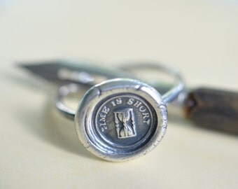 wax seal ring - hourglass ring - hourglass wax seal ring ... time is short - silver ring wax seal jewelry