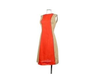 SALE Vintage 60s Dress - 60s Shift Dress - 60s Color Block Dress - 60s Sleeveless Dress - Tan Red Purple - Mod Shift Dress - Gay Gibson Dres