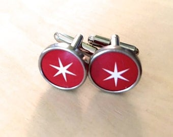 Red star vintage tin custom cufflinks. NO GLUE! Tin anniversary gifts.