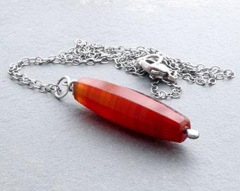 Carnelian Pendant Necklace, Red Orange Sardonyx Necklace, Old Carnelian Gemstone, Long Necklace, August Birthstone, Sterling Silver #4707