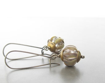 boho dangle earrings, lampwork glass and silver earrings, mixed metal earrings, green brown glass earrings
