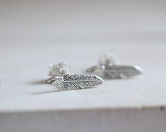Feather earrings. Sterling silver feather studs. Silver feather, feather studs, Silver feather studs, bohemian, boho earrings, boho chic.
