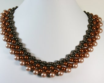 "DragonEmbroidery's Swarovski Crystal Pearl 18"" Collar Type Necklace"