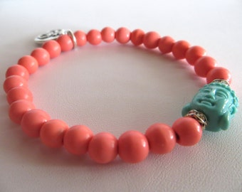 Pink Coral and Ohm Yoga Bracelet