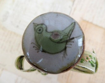 Wine Bottle Stopper, Ceramic with Green Bird, Wine Gifts