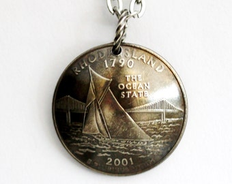 Rhode Island State Quarter Pendant,  2001, Domed Coin Necklace, Sailboat, U.S. Quarter Dollar, Jewelry by Hendywood