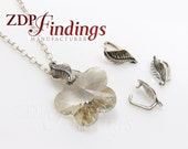 8Pcs X 925 Sterling Silver Pinch Bail for dangle pendant with hole, Leaf texture 11x6mm (A0901)