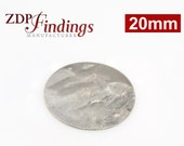 10pcs Discs 20mm Brushed Hammered Silver plated Charms with Hole (9202HBASP)