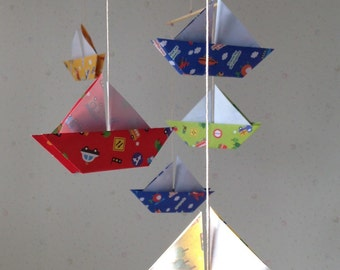 """6 Large Origami Sailboats Mobile - folded from 6"""" (15 cm) Patterned Paper of Vehicle,  Car, Airplace, Boat, Home Decor, Nursery Decor"""