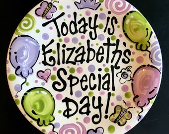 Personalized Birthday Plate - Purple and Green Personalized 10 Inch Ceramic Special Day Plate