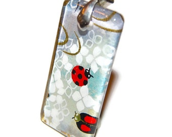 Ladybug Glass Tile Pendant - Hand Drilled with Silver Bail - Rectangle Pendant with Black Ribbon Necklace