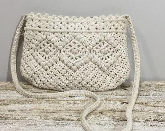 Crochet Shoulder Bag, Macrame  Bag, White Cotton Shoulder Bag,  Woven Shoulder Bag, Resort White Bag