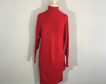 Vintage 1045 Park Red Sweater Dress, Cowel Neck Sweater Top, 2 Piece Knit Active Dress, Red Sweater Dress,  Red 80s Knit Skirt