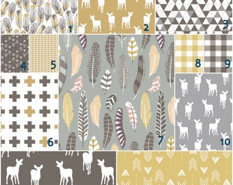 Feathers and fawn Olive grey  crib bedding set  -   Modern Crib bedding set -  Design your own 3 pcs. SET Custom crib Bedding