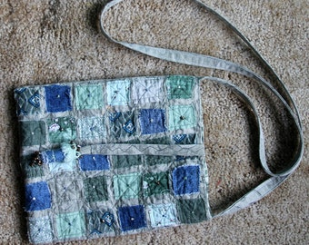 Fiber Art Purse Tote Bag Cross Body Blue Denim Grey Sage Green Embroidered Beaded Quilted