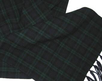 Wool Scarf . plaid wool scarf . tartan wool scarf . gren blue plaid . fringed wool scarf . Woven wool Scarf
