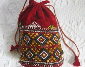 beaded velvet pouch . velvet pouch purse . beaded pouch . red velvet bag . folk bag . velvet folk bag . evening pouch