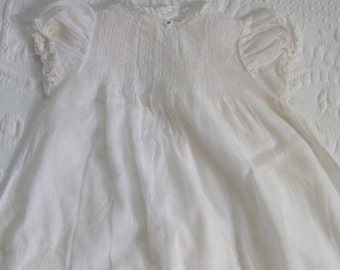 christening gown . embroidered christening gown . tiny tots original . hand made christening gown