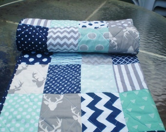 Woodland Baby Quilt,Toddler Quilt,Deer Quilt,Modern Baby Quilt,Handmade Quilt,Nursery Quilt,Crib Quilt,mint,navy,greyBuck Forest in Mint