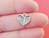 "50 BULK, Angel Wing Heart ""antique silver"" Charms 12.5x13x1.5mm ITEM:B21"