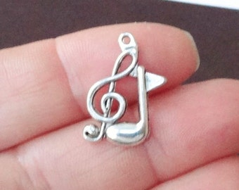12 Music Note Charms 13x20x2mm ITEM:O22