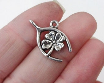 10 Wishbone/Shamrock Charms 14x23x2mm, Hole: 1.5mm