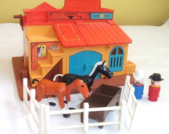 Vintage Fisher Price Little People Western Town #934 Cowboys Horses