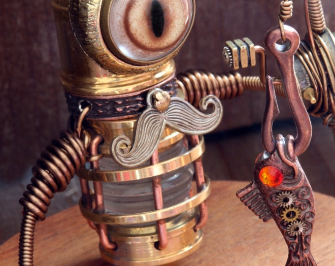 Steampunk Minion Fisher Cat Robot Sculpture with Mustache fishing rod and fish in a glass display dome