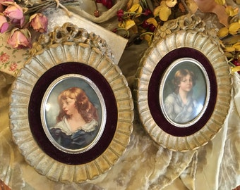 Pair of Beautiful Cameo Creations Portraits with Ornate Gesso Frames Syroco
