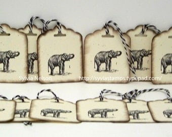 Out of Africa Elephant Tags..set of 12 Tags...Antique distressed hang tags...gift tags...Christmas gift tags...Birthday tags...hand stamped!
