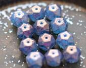 NEW Wildest Dreams - Czech Glass Beads, Opal Blue, Amethyst Purple, English Cut Rounds 10mm - Pc 6